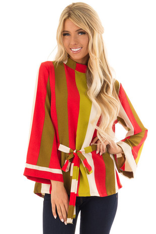 Multicolor Striped Long Sleeve Top with Waist Tie front close up