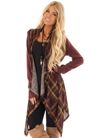 Burgundy and Mustard Plaid Long Sleeve Open Cardigan front close up