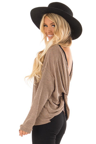 Toffee Long Sleeve Knit Top with Twisted Open Back Detail back side close up