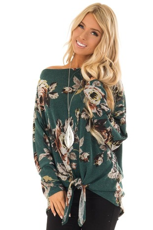 Hunter Green Floral Print Boat Neck Top with Front Tie front close up