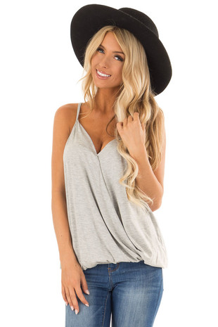 Heather Grey V Neck Tank Top with Wrapped Detail front close up