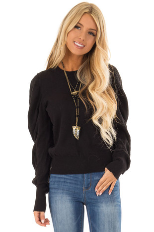 Ink Black Long Sleeve Top with Puffy Sleeves front close up