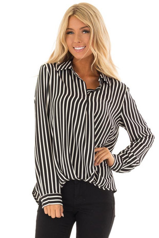 Black and White Striped Long Sleeve Collared Blouse front close up