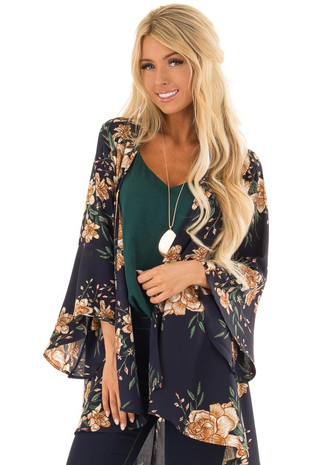 Navy Floral Open Front Kimono with Bell Sleeves front close up