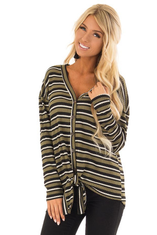 Olive and Black Striped Long Sleeve Top with Front Tie front close up