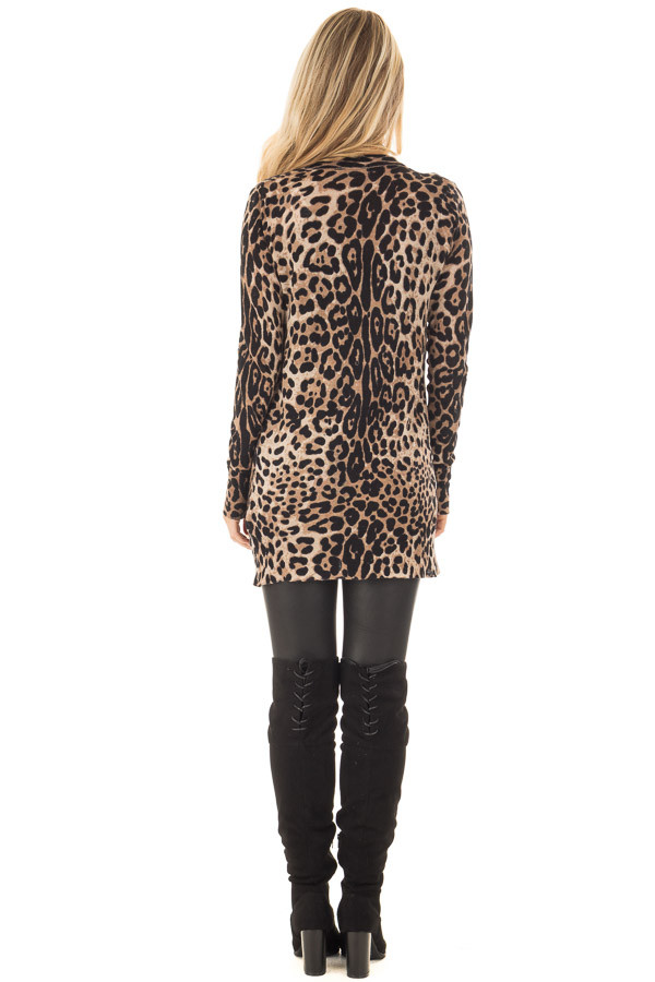 Leopard Print Long Cardigan back full body
