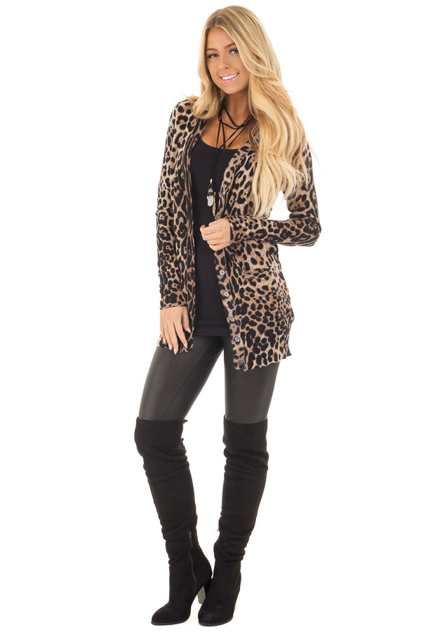 Leopard Print Long Cardigan front full body