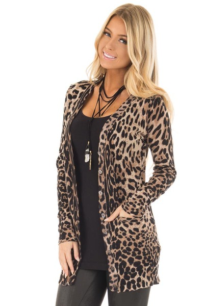 Leopard Print Long Cardigan front close up