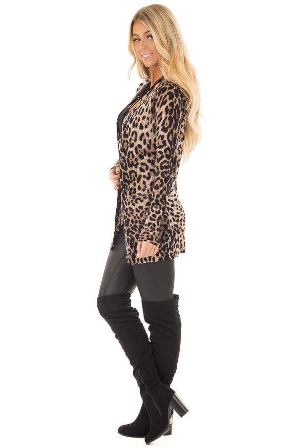 Leopard Print Long Cardigan side full body