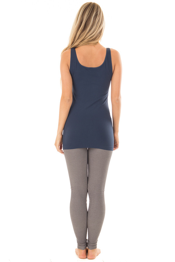 Denim Blue Seamless Long Tank Top back full body