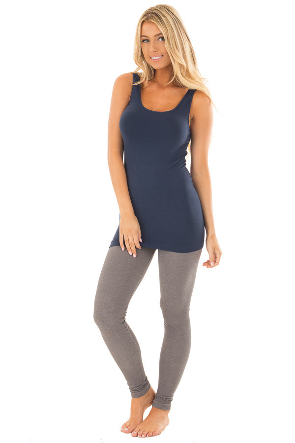 Denim Blue Seamless Long Tank Top front full body