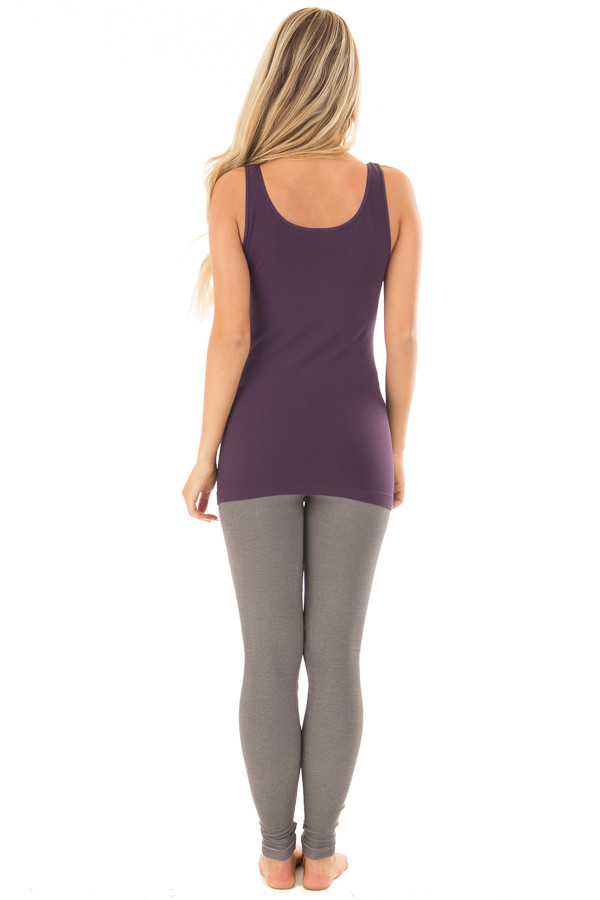 Dark Purple Seamless Long Tank Top back full body