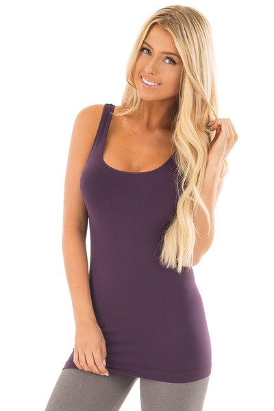 Dark Purple Seamless Long Tank Top front close up