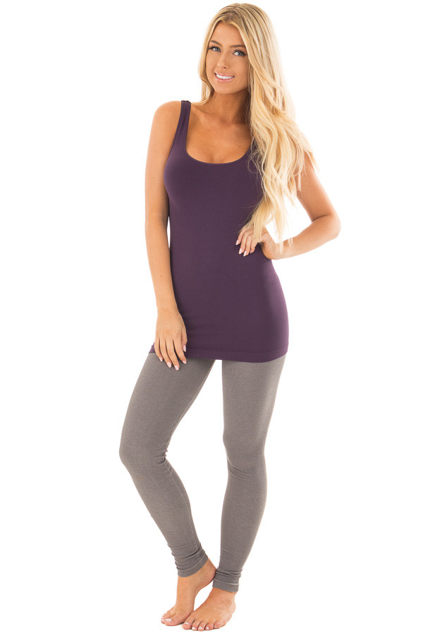 Dark Purple Seamless Long Tank Top front full body