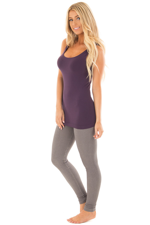 Dark Purple Seamless Long Tank Top side full body