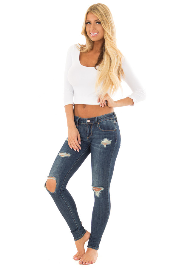 White Half Sleeve Crop Top front full body