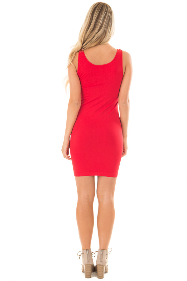 Red Seamless Tank Dress Undergarment back full body