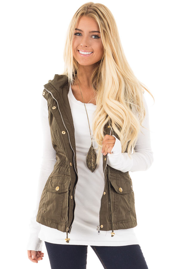 Olive Hooded Vest with Faux Fur Lining front close up