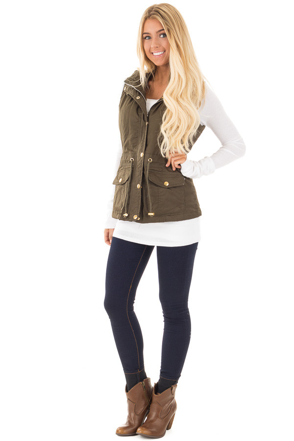 Olive Hooded Vest with Faux Fur Lining side front full body