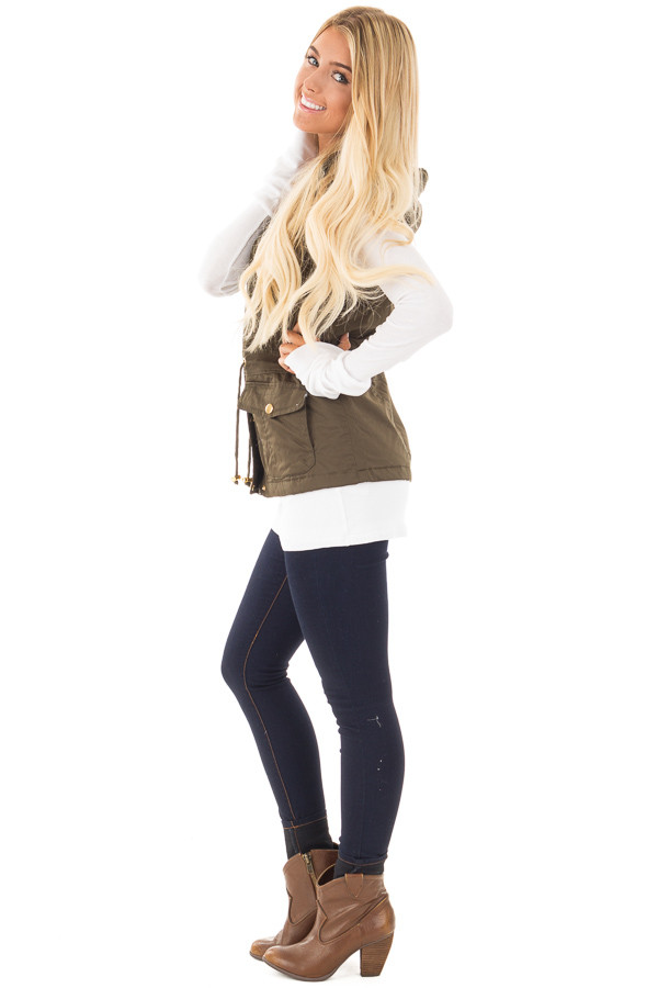 Olive Hooded Vest with Faux Fur Lining side full body