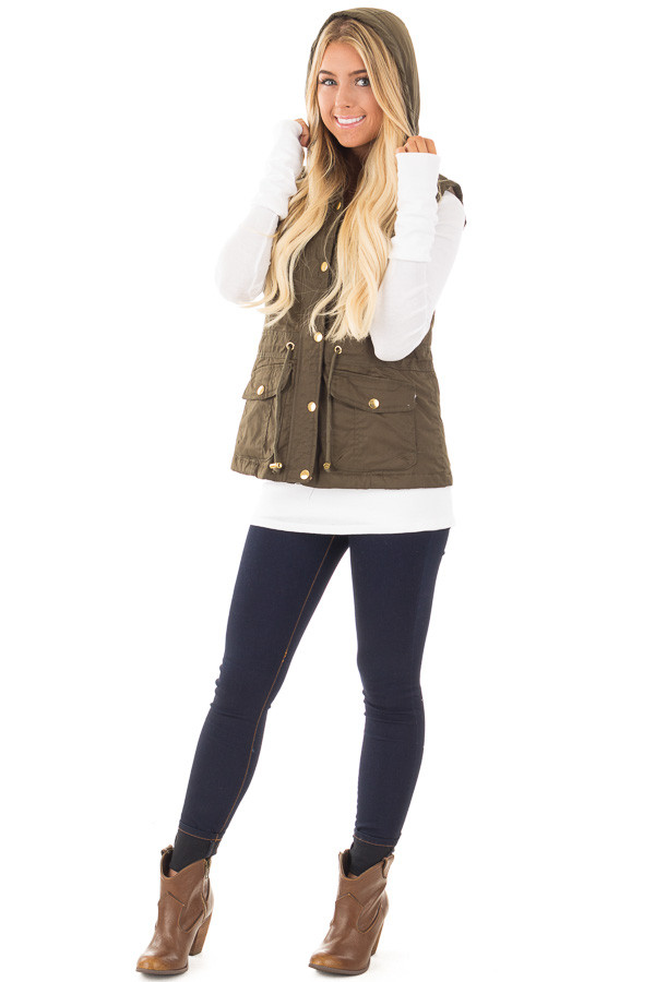 Olive Hooded Vest with Faux Fur Lining front full body