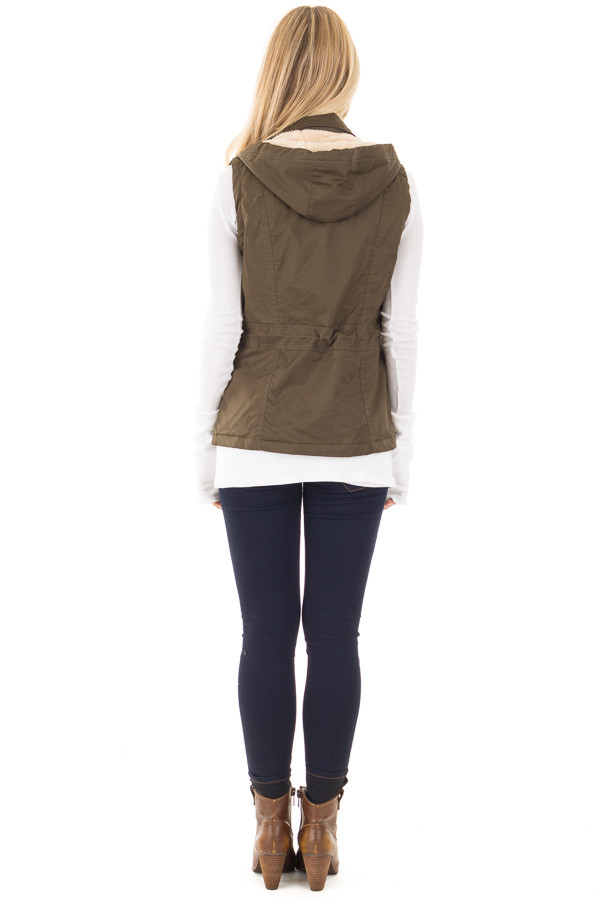 Olive Hooded Vest with Faux Fur Lining back full body