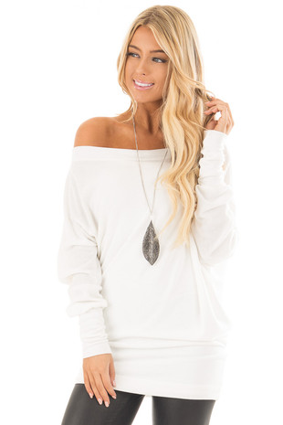 Ivory Off Shoulder Dolman Knit Top front close up