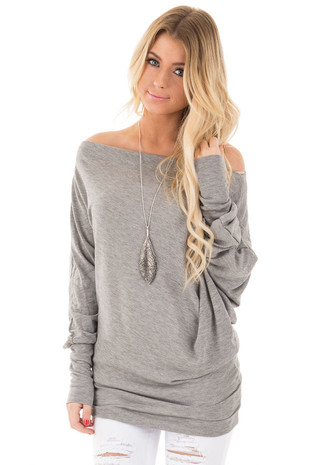 Heather Grey Off Shoulder Dolman Knit Top front close up