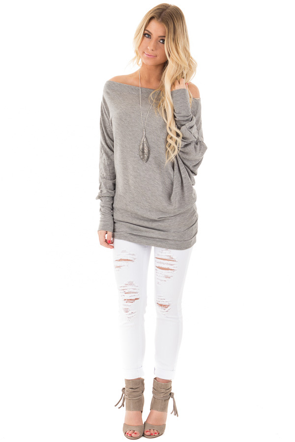 Heather Grey Off Shoulder Dolman Knit Top front full body