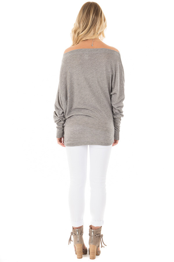 Heather Grey Off Shoulder Dolman Knit Top back full body