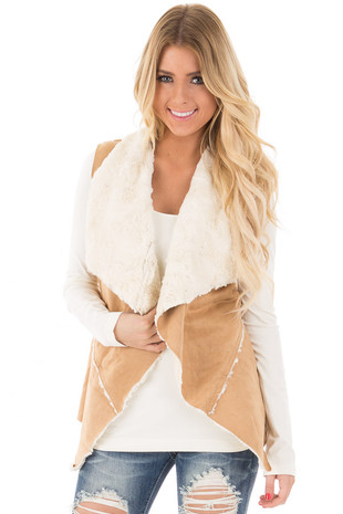 Copper Open Vest with Faux Fur Lining