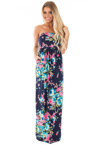 Navy Floral Print Strapless Maxi Dress