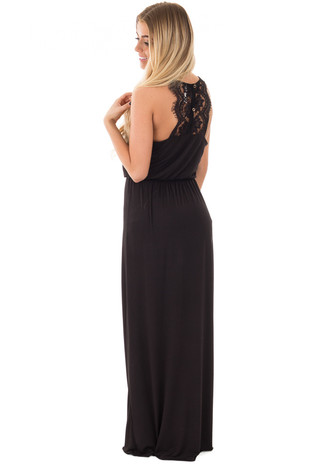 Black Halter Maxi Dress with Lace and Button Back Detail