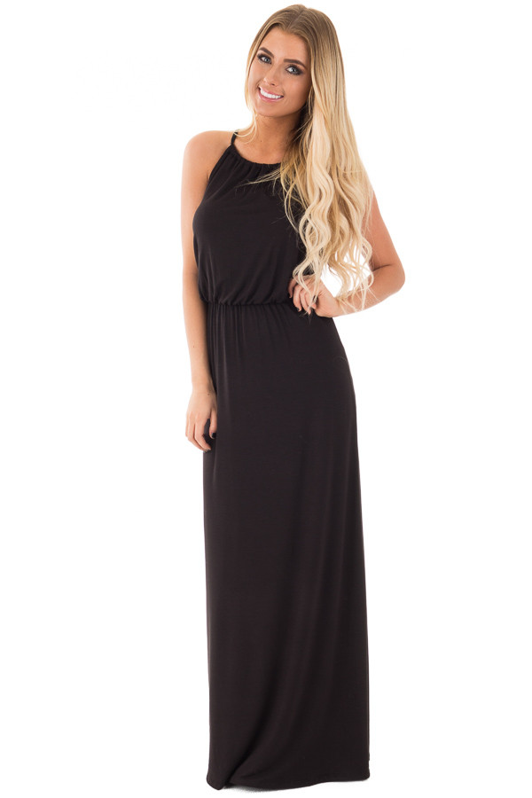 Black Halter Maxi Dress with Lace and Button Back Detail - Lime ...
