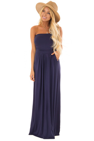 Navy Strapless Maxi Dress front full body