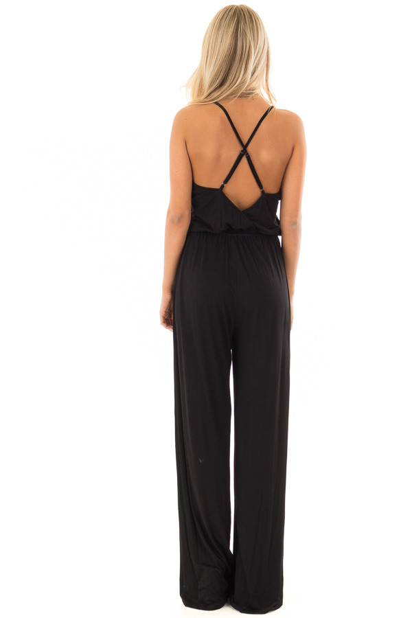 Black Sleeveless Wide Leg Jumper back full body