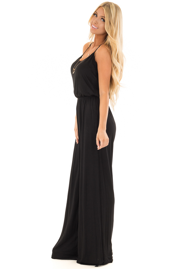 Black Sleeveless Wide Leg Jumper side full body