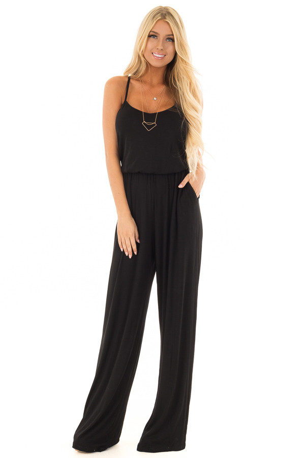 Black Sleeveless Wide Leg Jumper front full body