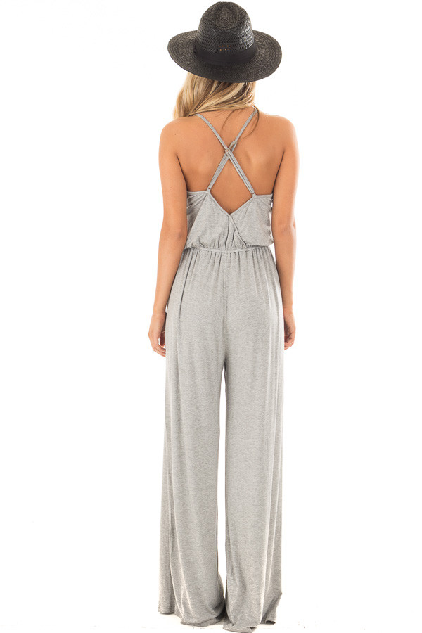 Heather Grey Sleeveless Wide Leg Jumper back full body
