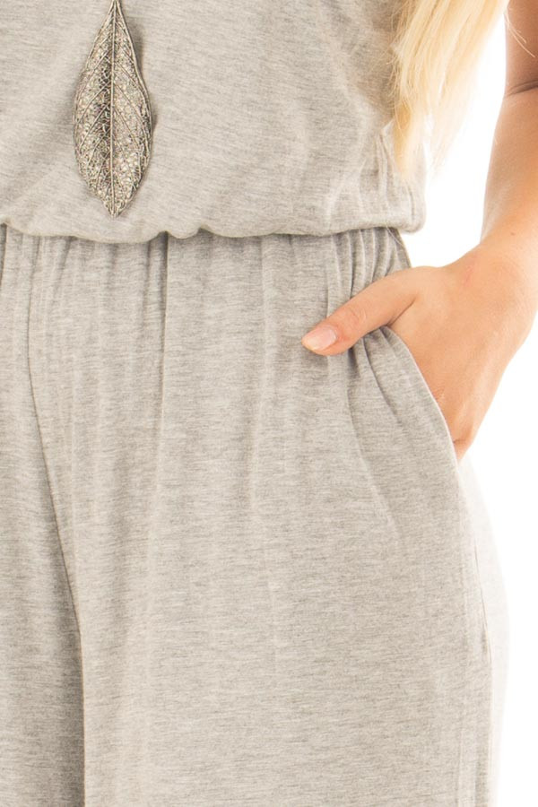 Heather Grey Sleeveless Wide Leg Jumper detail