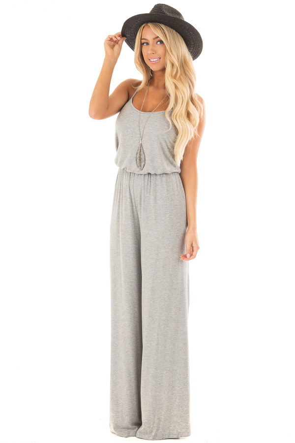 Heather Grey Sleeveless Wide Leg Jumper front full body