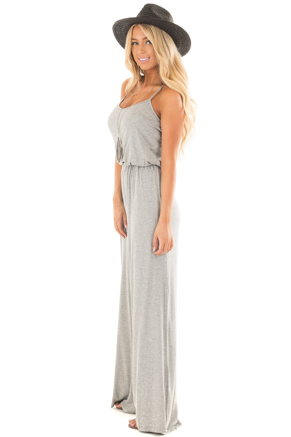 Heather Grey Sleeveless Wide Leg Jumper side full body