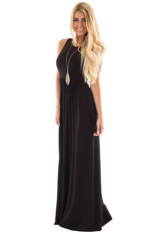 Black Jersey Racerback Tank Maxi Dress front side full body