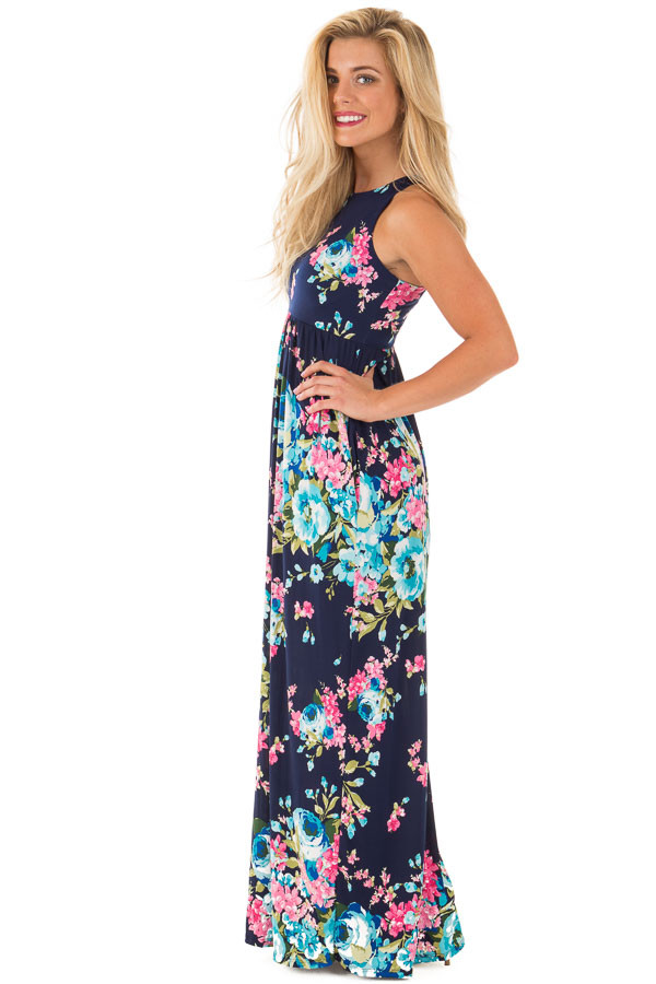 Navy Floral Print Racerback Maxi Dress with Side Pockets side full body