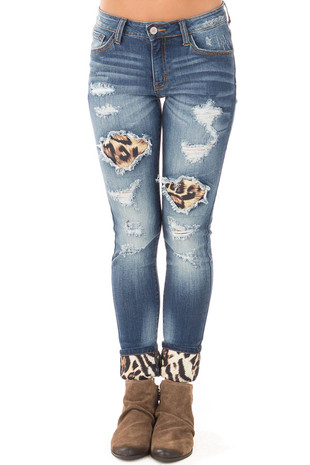 Distressed Skinny Cropped Jeans with Leopard Print Details front view