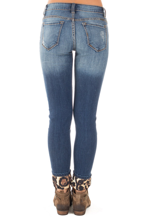 Distressed Skinny Cropped Jeans with Leopard Print Details back view