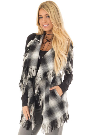Black and White Checkered Plaid Vest with Fringe front close up