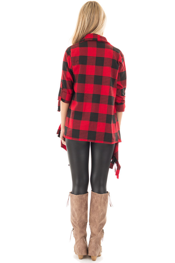 Red and Black Checker Plaid Print Open Drape Cardigan back full body