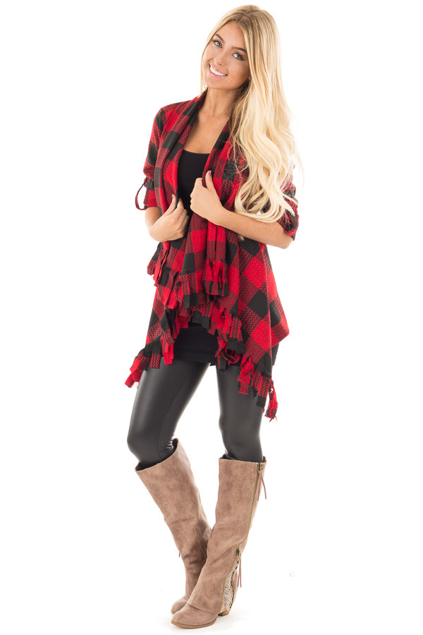 Red and Black Checker Plaid Print Open Drape Cardigan front full body