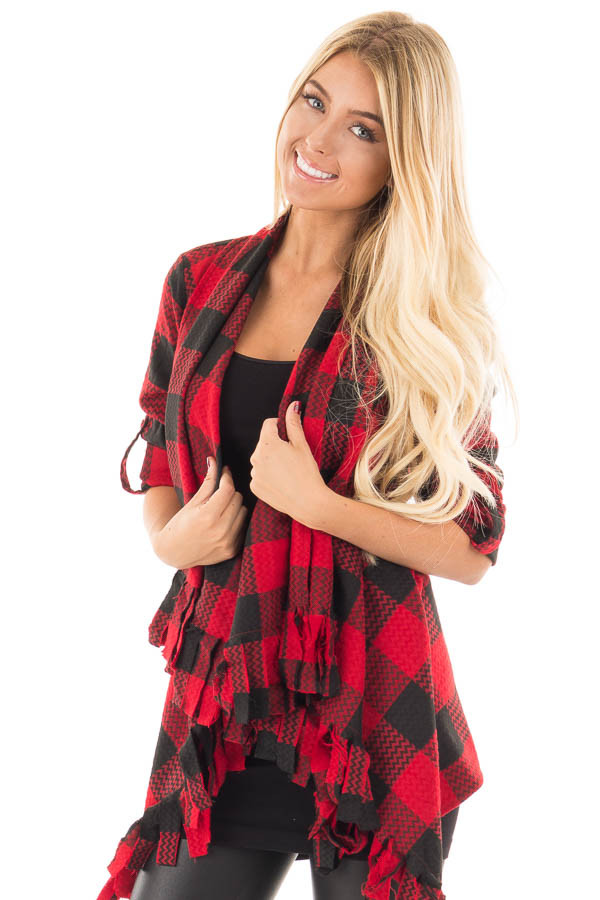 Red and Black Checker Plaid Print Open Drape Cardigan front close up